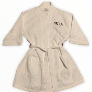 SKYN Embroidered Waffle Kimono Robe White